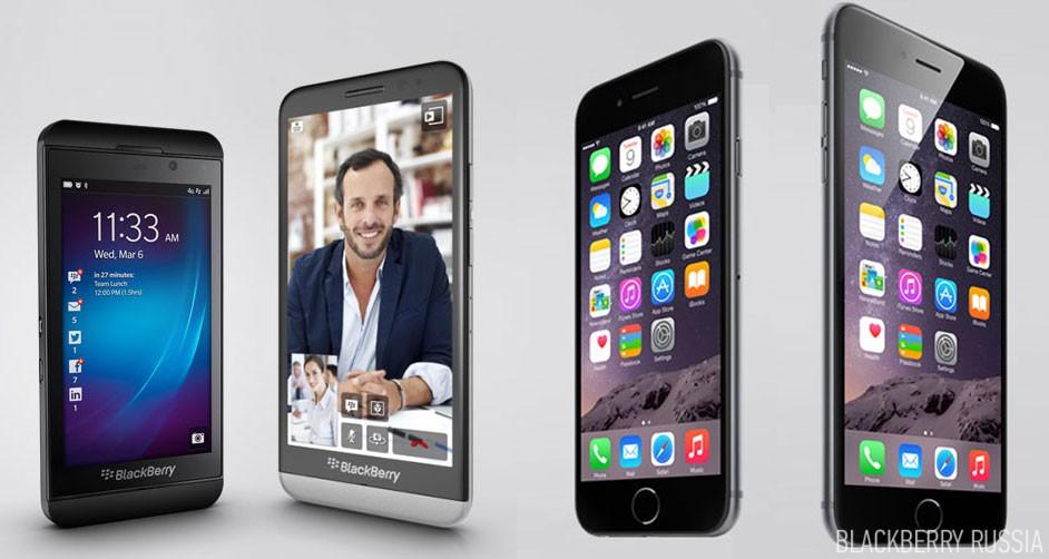BlackBerry Z10, Z30 vs. iPhone 6, 6 Plus
